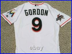 DEE GORDON size 40 #9 2017 Miami Marlins Game Jersey issued home white 3 PATCHES
