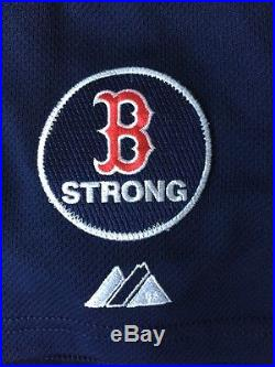 David Ortiz Game Used Issued 2013 B Strong jersey With Postseason Patch Red Sox