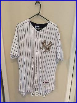 Derek Jeter game used/ issued 2013 home Yankees jersey. Rare camoflouge jersey