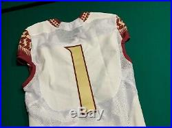 Florida State Seminoles NIKE Game Issued #1 White Jersey with Gold Numbers Sz40
