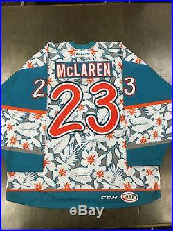 Frazer McLaren Game Issued San Jose Barracuda Hawaiian Shirt Jersey