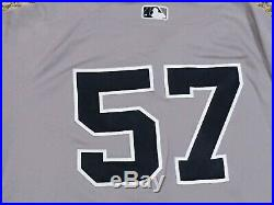 GREEN #57 size 46 2018 Yankees Game used Jersey issue ROAD POST SEASON MLB HOLO