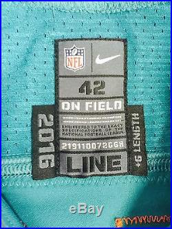 Game Issued Aqua Nike Rare Throwback 2016 Miami Dolphins Cleyon Laing #72