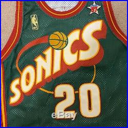 Gary Payton Seattle Supersonics Champion Jersey Game Issued Sz 42 L+2 All Star