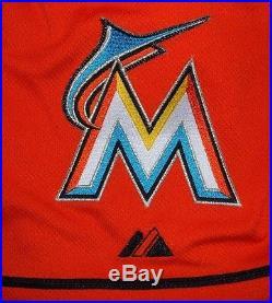 Jose Fernandez Miami Marlins 2014 Game Issued Un Worn Alternate Orange Jersey