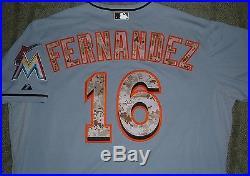JOSE FERNANDEZ MIAMI MARLINS RARE 2015 MEMORIAL DAY GAME ISSUED UN WORN JERSEY