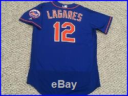 JUAN LAGARES size 46 #12 2018 New York Mets game jersey ISSUE home blue MLB HOLO