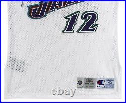 Jazz John Stockton Signed 1996-97 Game Issued White Champion Jersey BAS #AA03717