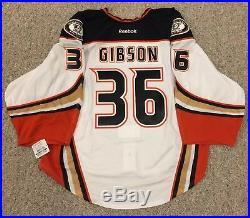 John Gibson Ducks Jersey Game Issued Goalie Cut 58G Reebok Edge 2.0