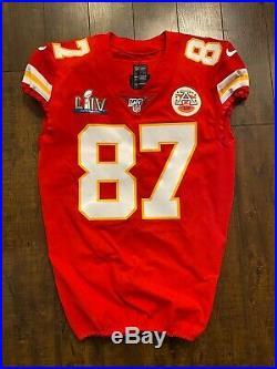 Kansas City Chiefs Team Game Issued Travis Kelce Super Bowl SB 54 Nike Jersey