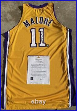 Karl Malone Los Angeles Lakers Signed Autograph Pro Cut Game Issued Nike Jersey