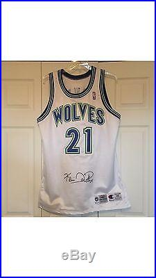 Kevin Garnett Signed Pro Cut Game Issued 95-96 Home Rookie Jersey