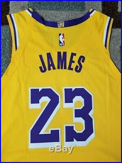 Lakers Lebron James Team Issued Pro Cut Jersey game worn used Kobe Bryant patch