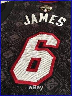 LeBron James Miami Heat Game Issued Procur NBA jersey El Heat Noches Ene Be A