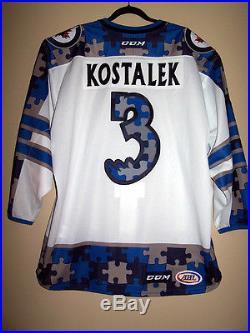 MANITOBA MOOSE AHL AUTISM AWARENESS GAME ISSUED NOT WORN JERSEY JAN KOSTALEK 3