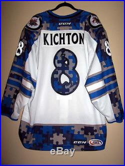 MANITOBA MOOSE AHL AUTISM AWARENESS GAME ISSUED NOT WORN JERSEY KICHTON 8