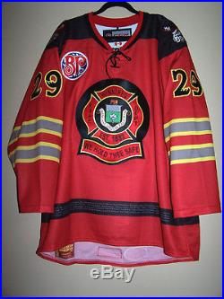 Manitoba Moose Fire Fighter Day Game Issued Not Worn Jersey Jordan Hill 29