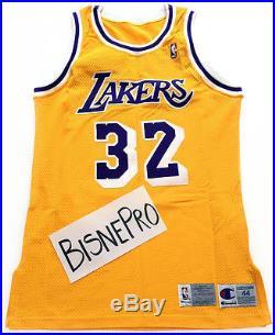 best loved 73d34 7822b Magic Johnson Autographed Authentic Champion Pro Cut Game ...