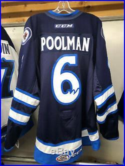 Manitoba Moose Ahl Game Issued Not Worn Navy Jersey Tucker Poolman 6