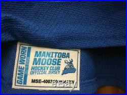 Manitoba Moose Ahl Game Issued Not Worn White Jersey Michael Hutchinson 33
