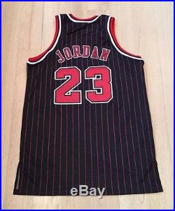 Michael Jordan Game Issued Pro Cut Chicago Bulls Adidas Black Jersey Pinstripe