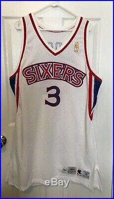 New Allen Iverson 1996-97 Philadelphia 76ers Home Jersey Size 50+4 Game Issued
