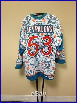Nikita Jevpalovs San Jose Barracuda Game Issued Hawaiian Shirt Jersey