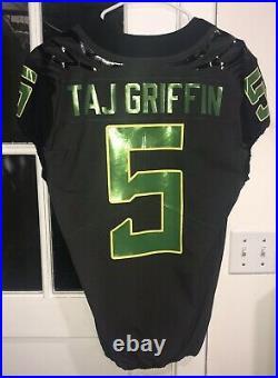 Oregon Ducks TAJ GRIFFIN Game-Used/Game Worn/Issued Black Nike Jersey 2016