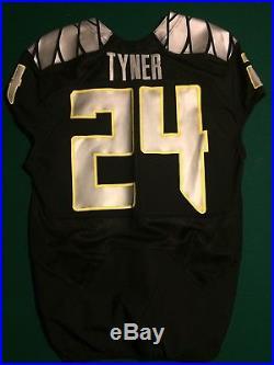 Oregon Ducks YellowithSilver/Black Nike Game Issued / Worn Jersey #24 Tyner