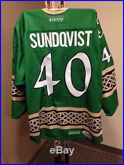 Oskar Sundqvist Wilkes-Barre/Scranton Penguins Game-Issued St. Patrick's Jersey