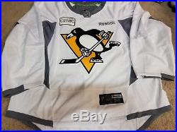 PITTSBURGH PENGUINS Goalie Cut White Yellow Game Issued Practice Pro Jersey 58