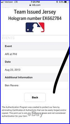 Phillies Game Issued/ Worn 2013 Ben Revere Tbtc Jersey