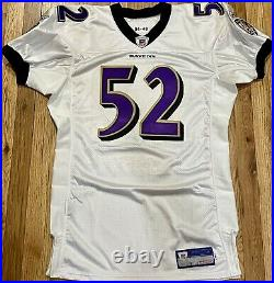 Ray Lewis Baltimore Ravens Team Issued Reebok Game Jersey White NFL Pro Cut
