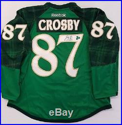 SIGNED SIDNEY CROSBY 2016 ST. PATRICKS TEAM ISSUE PITTSBURGH PENGUINS GAME JERSEY