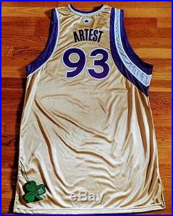 Sacramento kings Ron Artest Alt Gold Game Used Issued Jersey