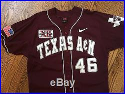 Texas A&M Aggies Nike Authentic Maroon Baseball Game Used / Issued Jersey Rare