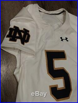 Under Armour TEAM ISSUED AUTHENTIC GAME NOTRE DAME FOOTBALL JERSEY AWAY WHITE #5