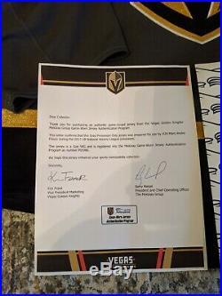 Vegas Golden Knights Marc-Andre Fleury Team Issued game Jersey COA NHL goalie 58