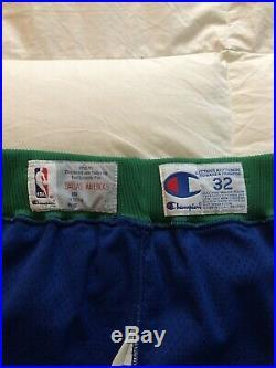 Vintage Champion Authentic Dallas Mavericks Shorts Team Game Issued 32 Jersey 90