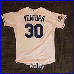 Yordano Ventura Game Worn Used 2015 Jersey Royals Post Season Issued Mlb Coa